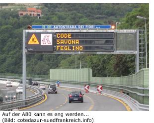 Strecke Route Südfrankreich Italien A80