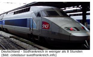 Zug Eisenbahn Südfrankreich TGV Preis Fahrzeit