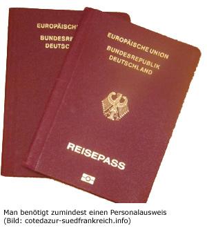 Ausweis Reisepass Frankreich Visum