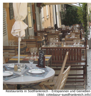 Restaurant in Südfrankreich an der Côte d'Azur Feinschmecker Gourmet Spezialitäten