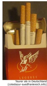 Zigaretten Tabak Frankreich Preis